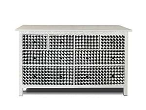 yourdea de meubles d'écran pour IKEA HEMNES Commode 8tiroirs/sticker autocollant de à monter soi-même/Stickers pour adhésives Motif pied-de-poule pied-de-poule