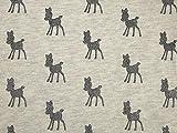 Glitzer Bambi Print weiches Sweatshirt Kleid Stoff grau auf
