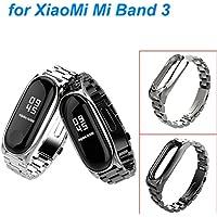 Zolimx Pulsera de Acero Inoxidable de Lujo Reloj Banda Correa para Xiaomi Mi Band 3 Smartwatch (Negro)