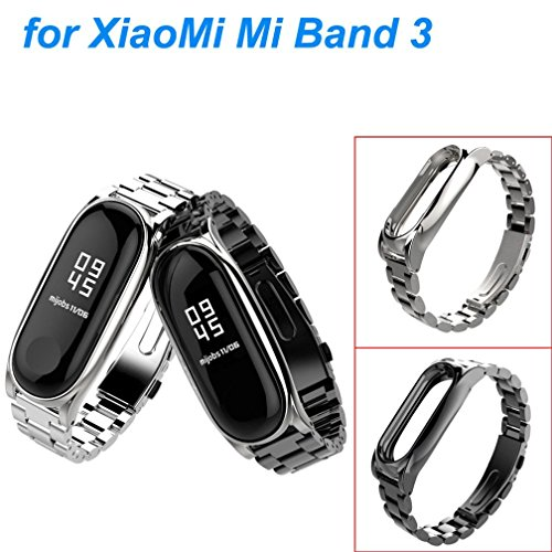 Zolimx Pulsera de Acero Inoxidable de Lujo Reloj Banda Correa para Xiaomi Mi Band 3 Smartwatch (Plata)