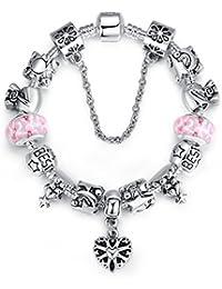 Wostu 2016viernes negro venta Fashion joyas rosa corazón amor encanto pulseras para las mujeres Teen Girls