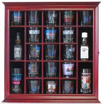 21 Shot Glass Shooter Display Case Holder Rack Wall Cabinet, Glass Door, SC01-CH