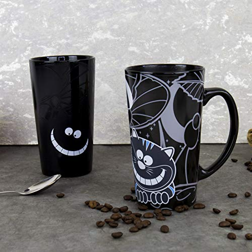 Gift Republic Grinsekatze Kaffeebecher, Porzellan, schwarz, 8.5 x 14 x 15 cm
