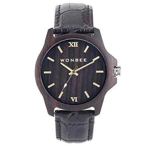 WONBEE Business Herren Holz Uhr Analog Quarzwerk Ebenholz Uhren mit Echtem Leder Armband Brown-GI