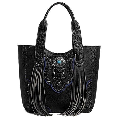 Blancho Bedding Womens [Vest S # 2] Cuoio borsa di modo nappa elegante borsa a spalla Nero Handbag S#1-Black