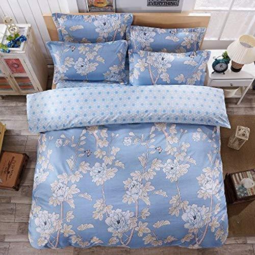 YJJSL Cotton-Bettwäsche-Set, Student Schlafzimmer Nordic Flower Bettbezug Set, einfache und stilvolle Bettbezug Set-Abnehmbare 3/4 Pices (Farbe : B, größe : 1.8M) (Bettwäsche Tröster Sets Grau)