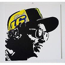 Valentino Rossi 46–de Modern Madera MDF pintados a mano Pop Art Effect, MDM acrílico madera, formato 40 x 40 cm