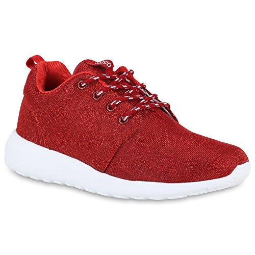 Damen Laufschuhe | Modische Sportchuhe| Sneaker Profilsohle |Glitzer Pailletten Sneakers | Runners Snake Blumen Rot