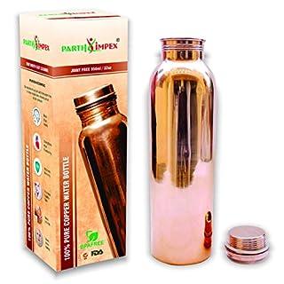 PARTH Impex Kupfer Wasserflasche Leck Beweis gelenkfreie ayurvedische 100% reines Kupfergefäß Krug für Trinkwasser Ayurveda gesundheitliche Vorteile (950 ml/32oz)