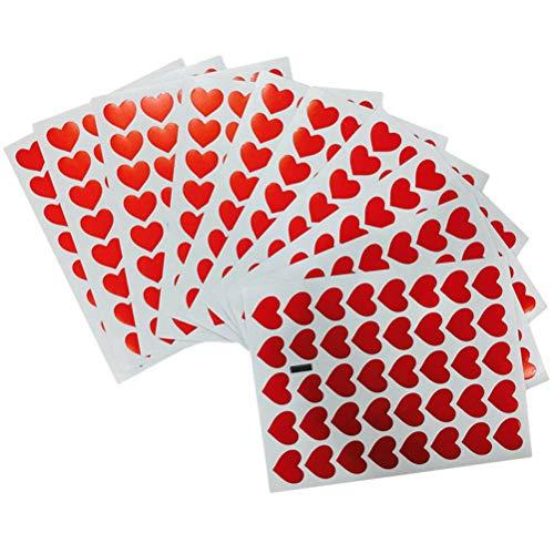 Toyvian 60 Blätter Herz Aufkleber Selbstklebende Tag Aufkleber Kinder Aufkleber Spielzeug für Geburtstag Party Favors Supplies Dekoration Geschenke Decals