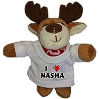 Reno de peluche (llavero) con Amo Nasha en la camiseta (nombre de pila