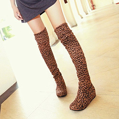 Nonbrand Damen Keilabsatz synthetischer über Knie Stiefel Camel Leopard