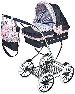 Decuevas Toys - Muñeca Classic Romantic, coche con suspensión, bandeja y bolso, 45x80x90 cm