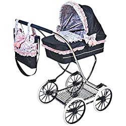 Decuevas Toys Muñeca Classic Romantic, coche con suspensión, bandeja y bolso, 45x80x90 cm