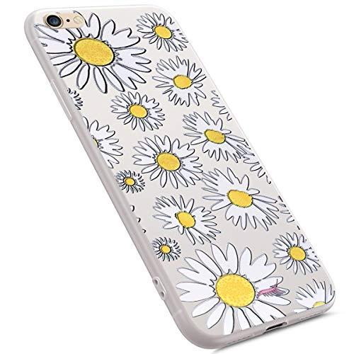 Preisvergleich Produktbild MoreChioce kompatibel mit iPhone 6S Hülle,kompatibel iPhone 6 Transparent Hülle,Kreativ Weiße Gänseblümchen Muster Mädchen Stoßfest Handyhülle Kristall TPU Flexible Gel Bumper