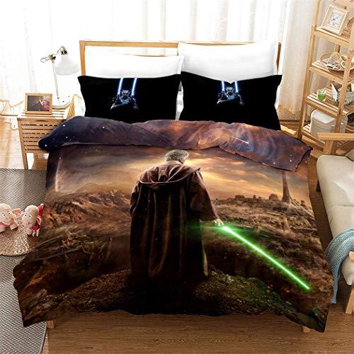 Bettwäsche Set 3 Stück Kinder Bettbezug Kissenbezug 100% Polyester Baumwolle 3D Star Wars Ultra weich Cooles Design Beste Wohnkultur,Twin (Star Wars Bettwäsche Twin)