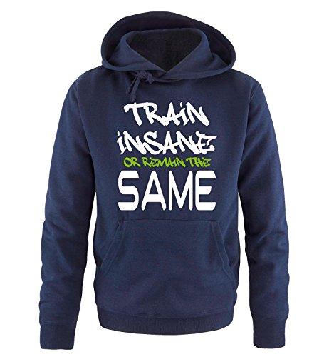 Comedy Shirts - TRAIN INSANE... - Uomo Hoodie cappuccio sweater - taglia S-XXL different colors blu navy / bianco-verde