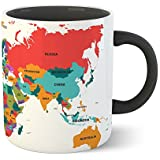 Chiraiyaa Creative World Map - Inner Black Printed With Black Printed Handle Ceramic Mug