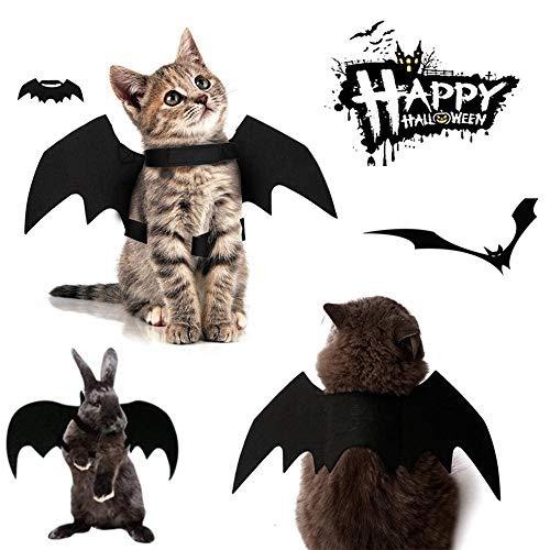 Kuoser Halloween-Haustierkostüme Zubehör, Fledermausflügel für kleine Hunde und Katzen, süßes Kostüm, Party, Cosplay, Requisiten, verstellbar, Schwarz