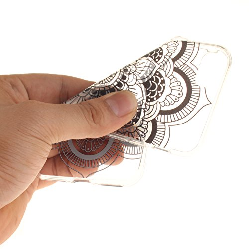 """Apple iPhone 7 4.7"""" hülle,MCHSHOP Ultra Slim Skin Gel TPU hülle weiche Silicone Silikon Schutzhülle Case für Apple iPhone 7 4.7"""" - 1 Kostenlose Stylus (Jahrgang Blumenrebe) Schwarze Sonnenblume"""