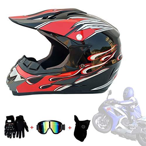 Dual Sport Helm Safe Full Face Classic Fahrrad Racing Helm Komfortabel Und Atmungsaktiv Für Mann Und Frau Mit Geschenken DOT-Zertifizierung Schutzbrille Maske Handschuhe Moto Racing,C,XL61~62cm