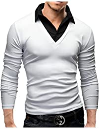 MERISH Elegantes Langarm Shirt Slim Fit mit klassischen Hemdkragen Modell 26