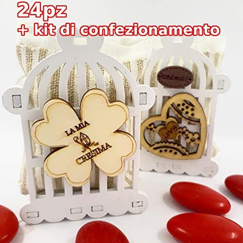 24 contenitori gabbietta porta confetti in legno con sacchetto in cotone - bomboniere per cresima rt