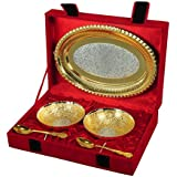 Handicraft Hub India Siver Gold Plated Brass Bowl With Oval Tray Set Of 5 Pcs With Velvet Box