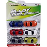 Emob Premium Quality Luxury & Sports Car Metal Die-cast Pull Back Action Vehicles Play Set-Pack Of 6 Best Gift Toy For Kids