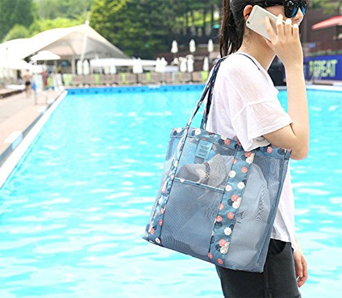 Outflower Outdoor Travel Beach net bag Storage Bag multifunzionale a vestiti, pacchetto, Tessuto Oxford, Blue, 35*35*12CM Blue