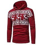 ZEZKT-Herren Weihnacht Kapuzenpullover mit Schnee Muster | Hoodie Pullover Strickjacke Winter-Jacke Sweatshirt (Rot-L)