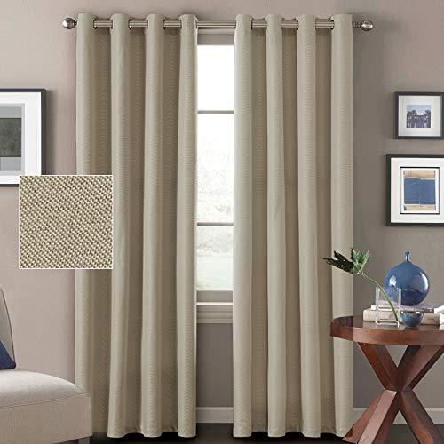 H. versailtex (1) ein Panel Leinen Look Antik Tülle 99% Blackout Thermo Isolierter Vorhang und Tuch, Polyester-Mischgewebe, Light Taupe, 52