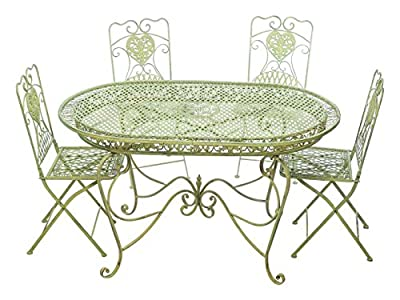 Garnitur Gartentisch 4 Stühle grün Eisen Gartenmöbel Stuhl Antikstil Nostalgie