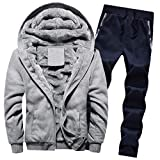 Amphia - Herren Winter Solid Color Plus Samt gepolsterte Hose Set - Herren Hoodie Winter Warm Fleece Zipper Sweater Jacke Outwear Mantel Top Schläuche Sets