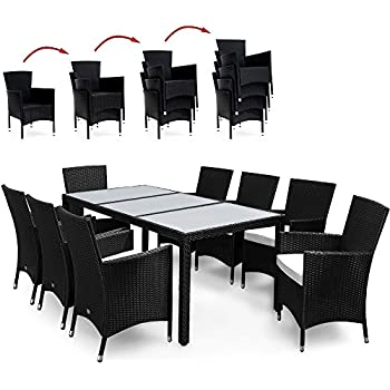rattan outdoor 8 seater garden furniture dining set in black garden outdoors. Black Bedroom Furniture Sets. Home Design Ideas