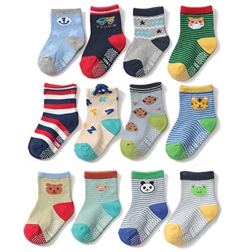 Yafane 12 Paar Baby ABS Antirutsch Socken Anti-Rutsch Rutschfest Kleinkinder Babysocken für Baby Jungen 1-3 Jahre
