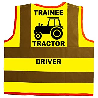 Trainee Tractor Driver Baby/Children/Kids Hi Vis Safety Jacket/Vest Size 2-3 Years Yellow Optional Personalised On Front