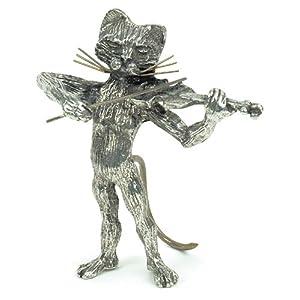 Statuette Chat au Violon en étain - Anne Fuzeau Creation