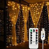 MagicLux Tech USB 300 LED luce di tenda con 8 modalità con telecomando Decorazione per sala da pranzo, finestre, padiglioni, recinzioni, fioriere, cortili, Natale, Vacanze (bianco caldo)