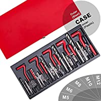 Sailnovo Gewinde Reparatursatz 131TLG Gewinde Reparatur Satz Thread Repair Kit Werkzeug Kit M5 M6 M8 M10 M12 Rot (#1)