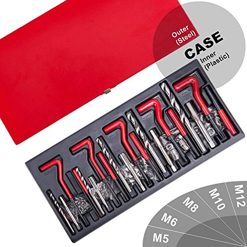 Gewinde Reparatursatz 131TLG Gewinde Reparatur Satz Thread Repair Kit Werkzeug Kit M5 M6 M8 M10 M12 Rot (#1)