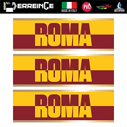 erreinge Sticker x3 Roma Ultras Supporters Adesivo Sagomato in PVC per Decalcomania Parete Murale Auto Moto Casco Camper Laptop - cm 35