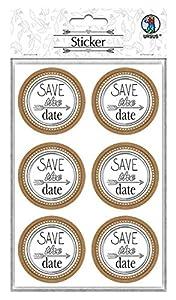 Ursus Pegatinas de Boda 59530005F, 24 Pegatinas con Texto Save The Date, Autoadhesivas, con Acabado de láminas, diámetro Aprox. 4,8 cm