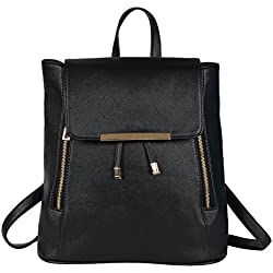 Lychee Bags Women's Black PU Cadence Backpack (LB68BLK)