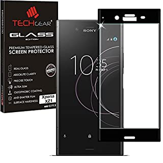 TECHGEAR Screen Protector for Xperia XZ1, 3D GLASS Edition FULL Screen Coverage Tempered Glass Screen Protector Guard Cover Compatible with Sony Xperia XZ1 (Black)