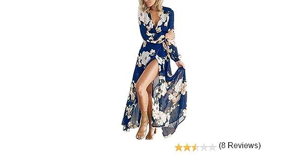 Donna Lungo Stampa Fiori Elegante Vestito da Cerimonia Abito da Sera Partito Scollo a V in Chiffon Maxi Abiti