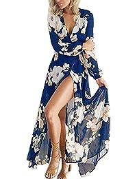 Donna Lungo Stampa Fiori Elegante Vestito da Cerimonia Abito da Sera  Partito Scollo a V in f0c67e8946f