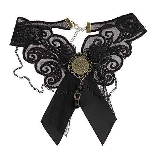 Agoky Viktorianische Steampunk Schleife Spitzen Choker Halskette mit Retro Uhr Strass Anhänger für Halloween Fasching Party Schwarz One Size