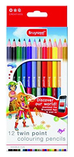 Bruynzeel -   12 Buntstifte mit Doppelspitze -24 Farben für doppelt so viel Malspaß