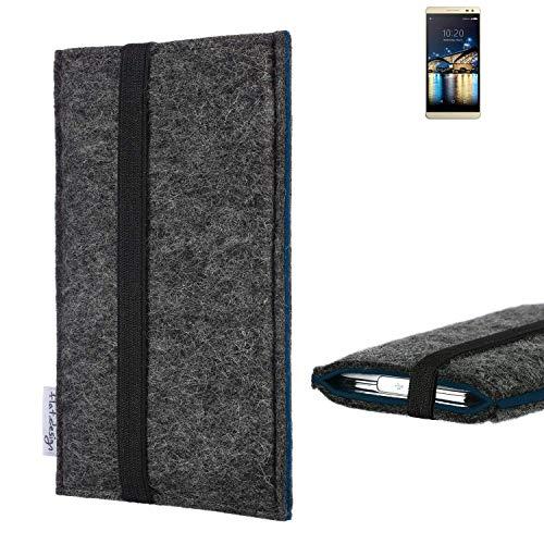 flat.design Handyhülle Lagoa für Switel Champ S5003D   Farbe: anthrazit/blau   Smartphone-Tasche aus Filz   Handy Schutzhülle  Handytasche Made in Germany